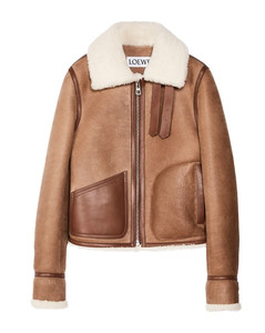 Shearling-Lined Leather Aviator Jacket