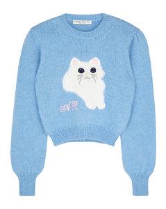 Blue cat-intarsia mohair-blend jumper