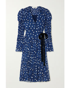 Ani Velvet-trimmed Printed Chiffon Wrap Dress - US0