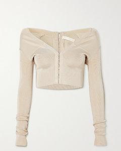 Cropped Stretch-knit Cardigan