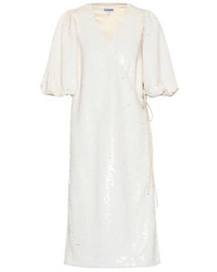 Sequined wrap midi dress