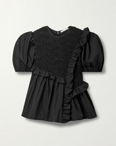 Carlotta Asymmetric Ruffled Smocked Cotton-blend Poplin Blouse