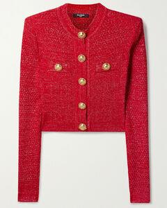 Button-embellished Metallic Jacquard-knit Cardigan - FR34
