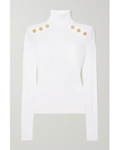 Button-embellished Ribbed-knit Turtleneck Sweater - FR34