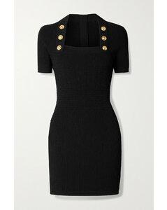 Button-embellished Ribbed-knit Mini Dress - FR34