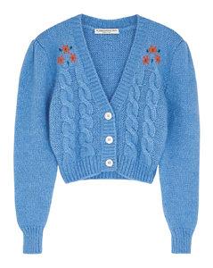 Blue embroidered alpaca-blend cardigan