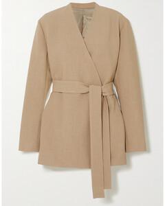 Oversized Belted Woven Blazer
