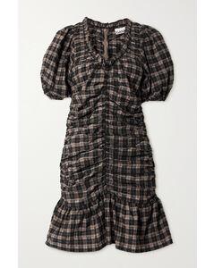Ruffled Ruched Checked Organic Cotton-blend Seersucker Mini Dress
