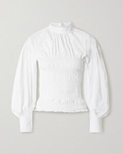 Shirred Organic Cotton-poplin Blouse - DK32