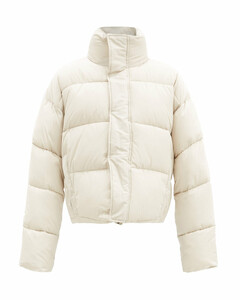 Logo-embroidered quilted shell jacket
