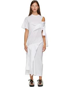 白色垂褶T恤连衣裙