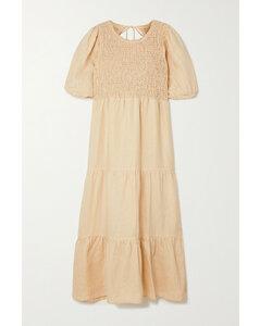 Net Sustain Alberte Open-back Shirred Linen Midi Dress