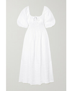 Net Sustain Maurella Shirred Linen Midi Dress