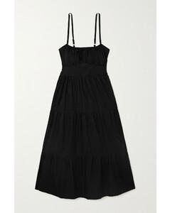 Net Sustain Alexia Gathered Tiered Cotton-poplin Midi Dress