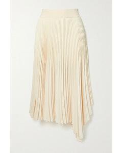 Swinton Asymmetric Pleated Crepe Midi Skirt - FR44