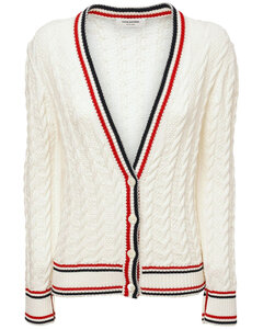 Ribbed Cotton Cable Knit V Neck Cardigan