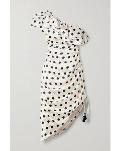 Net Sustain Unprecedented One-shoulder Polka-dot Satin Midi Dress - US0