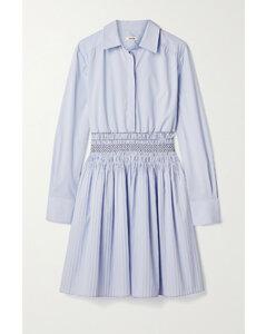 Shirred Cotton-blend Poplin Mini Shirt Dress