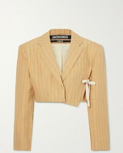 Santon Tie-detailed Pinstriped Linen Blazer - FR34