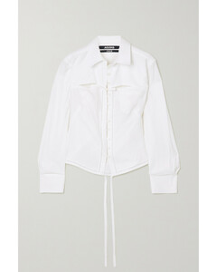 Nappe Tie-detailed Cutout Woven Shirt