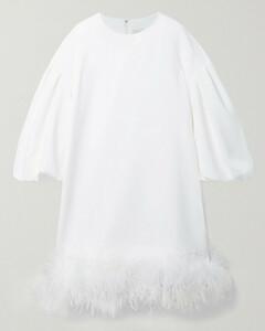 Poppy Feather-trimmed Crepe Mini Dress - UK6