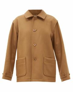Patch-pocket wool-blend twill coat