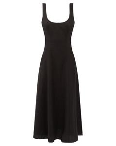 Lulu cutout-back linen midi dress