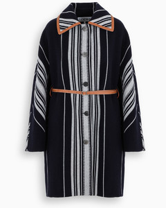 Blue/grey striped single-breasted coat