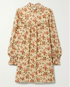 Jourdan Ruffled Floral-print Crepe Mini Dress