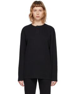 黑色Thermal长袖亨利衫