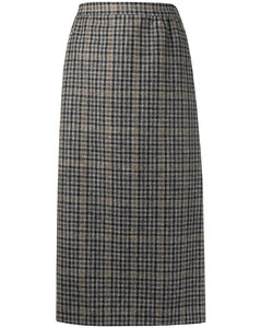 高腰格纹半身裙