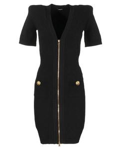 Short black knit dress with gold-tone zip closure