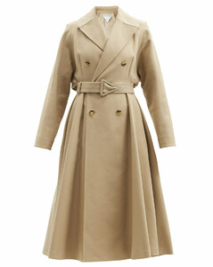 Double-breasted water-repellent canvas trench coat