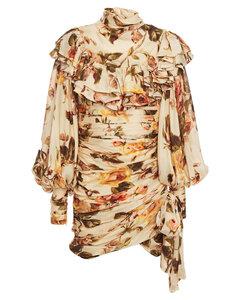 Woman Ruffled Floral-print Silk Crepe De Chine Mini Dress