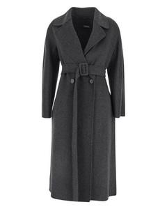 Dark grey wool with belted waist coat