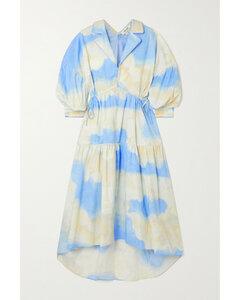 Heather Tiered Printed Stretch-cotton Poplin Midi Dress