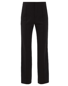 Slim-leg virgin wool grain de poudre trousers