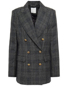Woman Anthea Double-breasted Prince Of Wales Checked Woven Blazer