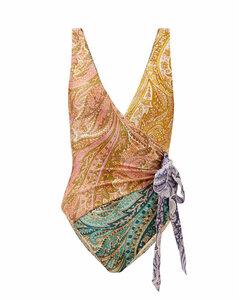 Brighton wrap-front paisley-print swimsuit
