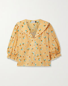 Carly Scalloped Printed Cotton Blouse