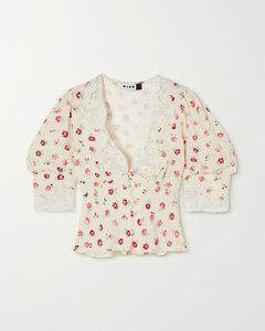 Amanda Cropped Lace-trimmed Floral-print Crepe De Chine Blouse