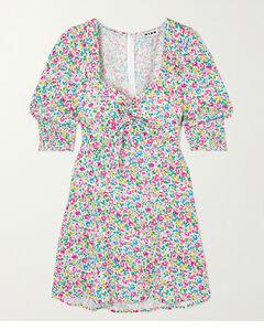 Larissa Bow-detailed Floral-print Crepe Mini Dress