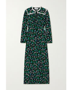 Ada Lace-trimmed Floral-print Crepe Midi Dress