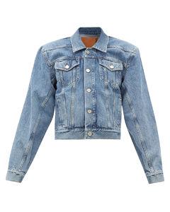 Padded-shoulder logo-collar denim jacket