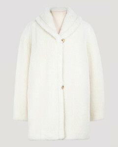 Teddy white fluffy wool-blend jacket