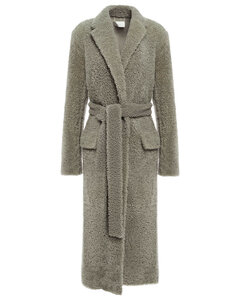 Woman Belted Shearling Coat