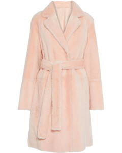 Woman Reversible Belted Shearling Coat
