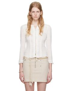 Bell-sleeve belted polka-dot silk pyjama jacket