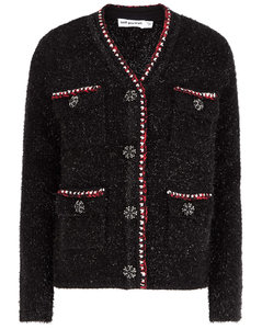 Black metallic-weave knitted cardigan