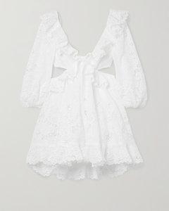 Brighton挖剪荷叶边马德拉刺绣纯棉迷你连衣裙